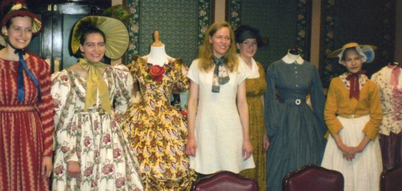 FASHIONHISTORY — Sisters Gemma, Harmony, Leslie, Rue and Abiah Arendt presented a history of fashion for the Fort Steuben Daughters of the American Revolution members at their April 8 meeting. -- Contributed