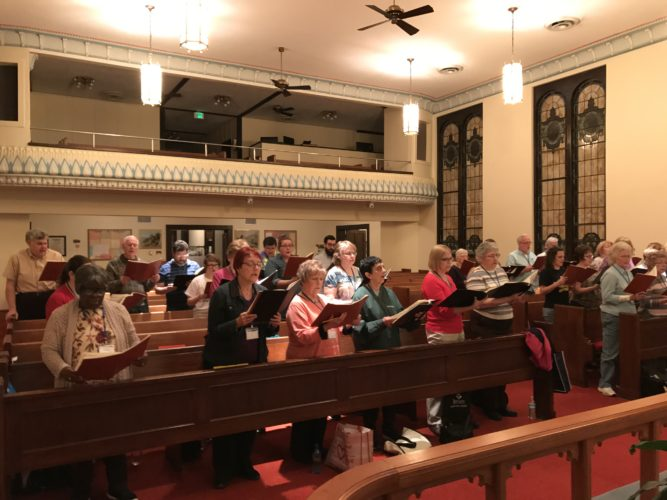 GETTINGREADY — The Ohio Valley Chorale will perform its first concert for the public on Sunday beginning at 3 p.m. at First Westminster Presbyterian Church located at 235 N. Fourth St., Steubenville. Some of the members are shown during a recent weekly rehearsal.  -- Contributed