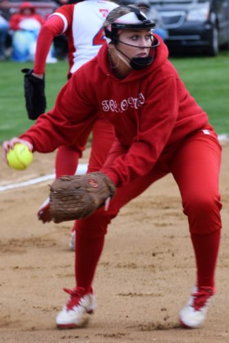 Seth Staskey LADY IN RED — Serena Burkey and the TorontoRed Knights defeated River, 8-7, in nine innings Monday to advance to the OVACClass 2A softball championship Saturday against Wheeling Central.