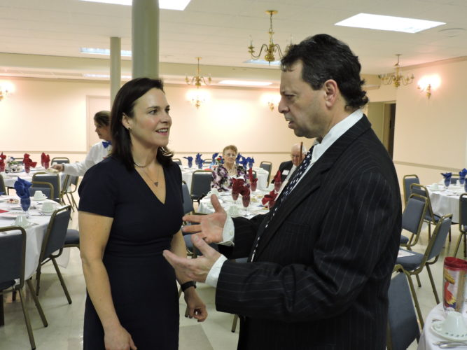 Ohio Republican Party Chairwoman Jane Timken chatted with Jefferson County Republican Chairman Matt Parise Monday night prior to the annual Lincoln Day dinner at the Hellenic Hall in Steubenville. Timken called on the local Republicans to remain united and to work to keep the 1 million new voters who supported Donald Trump in 2016. — Dave Gossett