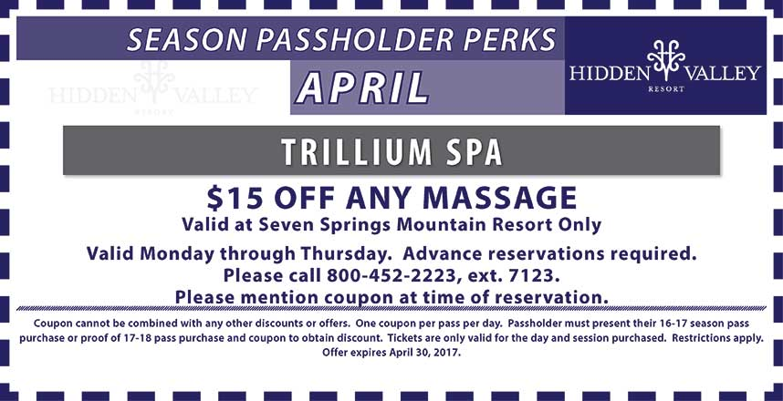 $15 Off a massage at the Seven Springs Trillium Spa