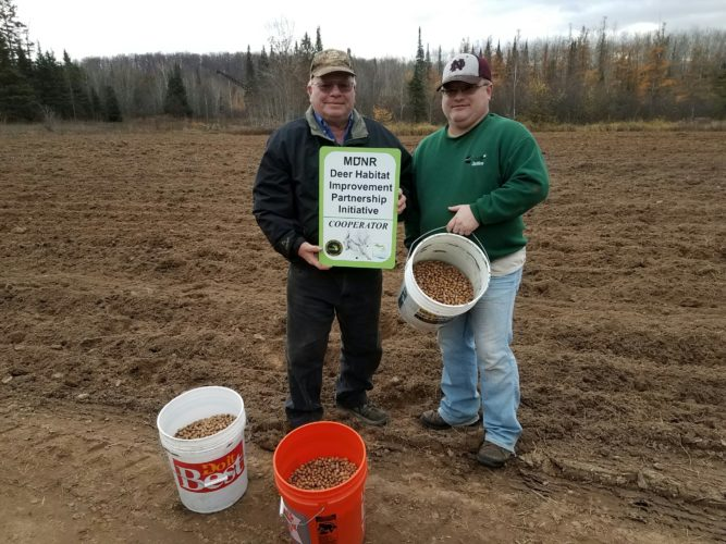 Marvin and Bruce Johnson of Foster City were oak seeding partners for the 2016 Michigan Department of Natural Resources Deer Habitat Improvement Partnership Grant project. The project, conducted in cooperation with the Dickinson Conservation District, focused on enhancing winter cover in northern Dickinson County deer wintering complexes identified by the DNR. It also included the Johnsons' oak seeding trial.