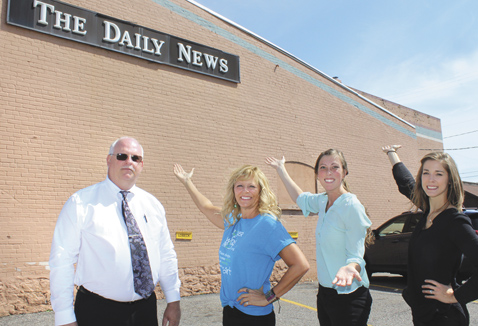 Theresa Proudfit/Daily News Photo  Iron Mountain Daily News Publisher Corky DeRoeck recently met with Power of Words Project artist Mia Tavonatti and members of the Iron Mountain Downtown Development Authority to discuss the mural that will be painted in downtown Iron Mountain in June, 2017. From left, Corky DeRoeck, Mia Tavonatti, DDA Director Paula Craven and DDA Chairwoman Megan Blomquist.