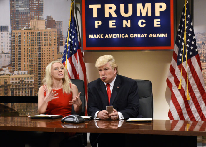 "This Dec. 3, 2016 image released by NBC shows Kate McKinnon as Kellyanne Conway, left, and Alec Baldwin as President-elect Donald Trump during ""Saturday Night Live,"" in New York. Trump called the late-night institution unfunny and Baldwin's portrayal of him mean-spirited, suggesting the show wasn't long for the world. Trump has grumbled in tweets about the show three times since October, most recently last weekend after Baldwin and Kate McKinnon appeared in a skit about his Twitter habit. (Will Heath/NBC via AP)"