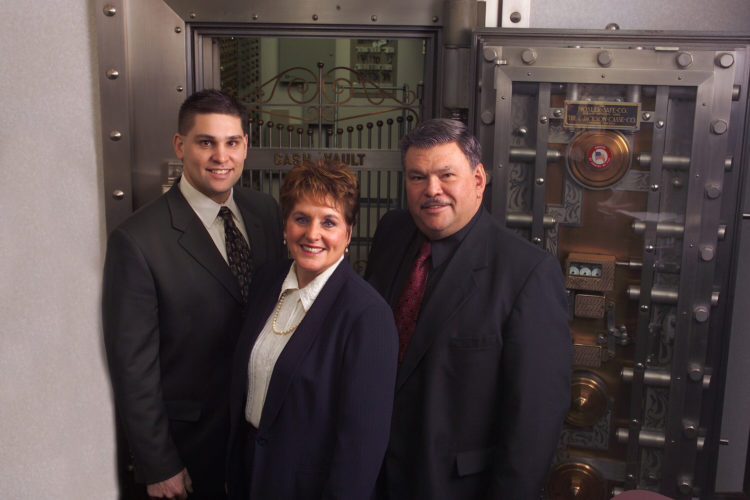 Tom Wittkopf, left, president of the State Bank of Florence, is shown with his father, A. Thomas Wittkopf, chairman of the board; and mother, Rochelle Wittkopf, member of the board of directors. The bank's name will be changed in January to Great North Bank.