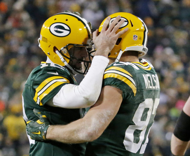 Green Bay quarterback Aaron Rodgers, left, and wide receiver Jordy Nelson became the most productive quarterback-receiver touchdown duo in Packers history. In last week's win against the Minnesota Vikings, the duo surpassed the 57 touchdown mark held by Brett Favre and Antonio Freeman. (Mike Roemer/AP File Photo)