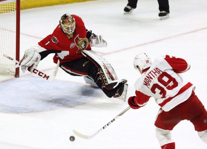 Detroit's Anthony Mantha (39) scores on Ottawa Senators goaltender Mike Condon (1) during overtime in Ottawa, Ontario on Thursday. (Fred Chartrand/The Canadian Press via AP)