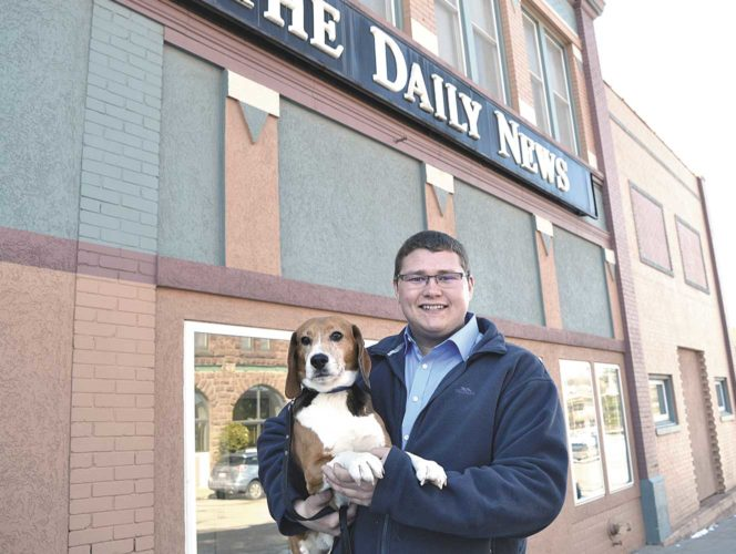 SKIP THE BEAGLE won the The Daily News' Pet Idol title for 2016. The 8-year-old hound owned by Cameron Olsen of Vulcan bested a goat and bichon frise dog to win the contest and become the Newspapers in Education mascot for the 2016-17 school year. (Theresa Proudfit/Daily News photo)