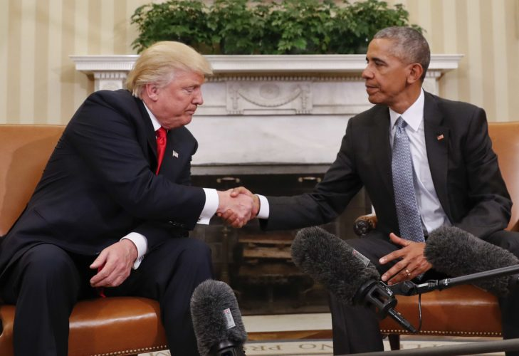 President Barack Obama and President-elect Donald Trump shake hands after their meeting Nov. 10 in the Oval Office of the White House in Washington. (AP Photo/Pablo Martinez Monsivais)