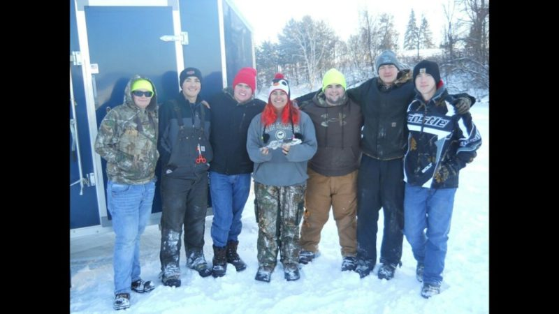 "THE GOODMAN-ARMSTRONG Creek School District's ice fishing team, from left, includes Stan Maruszczak Jr., Colby Nelson, Jared Knutson, Rachel Ziolkowski holding her winning fish ""Lil' Wally,"" Trevor Kalkofen, DevIn Kowalkowski and Caleb Nelson"