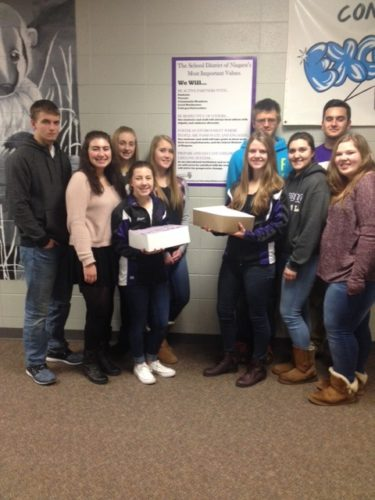 NIAGARA HIGH SCHOOL seniors display letters for the Niagara Area Scholarship Foundation's Alumni Fund Scholarship Drive. Pictured are Niagara High School students, from left, Alex Garvaglia, Maddie Colburn, Taylor Tushoski, Brittani Spigarelli, Peyton Aderman, Hannah Antonissen, Tristin Colenso, Sarah Nawn, Ethan Blagec and Morgan Waugen.