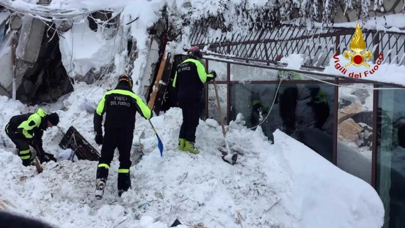 AP Photo Italian firefighters search for survivors after an avalanche buried a hotel near Farindola, central Italy, Thursday. Rescue crews are continuing the painstaking search for some 30 people trapped inside a remote Italian mountain resort flattened by a huge avalanche.