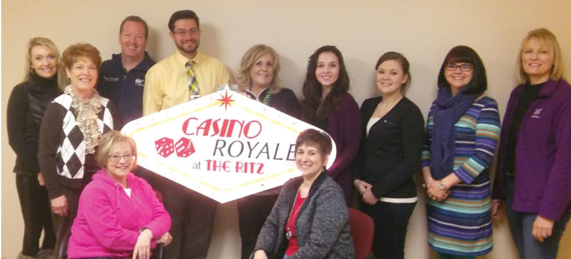 TICKETS ARE ON sale for the 2017 Casino Royale at the Ritz event for the Dickinson Area Chamber Alliance. Shown here from left planning the event are seated, Barb Bigelow and Julie Olsen. In back from left are Kim Webb; Lynda Zanon, chamber director; Todd Lysinger, Ritz chair; Matt Lutz; Donna Rahoi; Megan Barglind; Kandace Quick; Teresa Schettler; and Suzanne Anderson, Ritz co-chair.