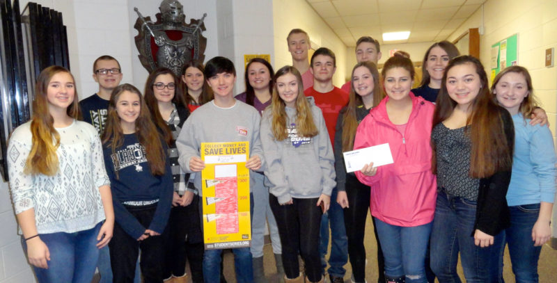 The NHS Key Club recently waged a coin war to raise money for The Leukemia and Lymphoma Society's 2016-2017 Pennies for Patients Program. A clear canister was set out for each of the grades 9 through 12. All coins would add to the total, and paper money would subtract from the total. After the coins were added, and the paper money was subtracted, the ninth-grade class had the highest total, which won them an ice cream treat. The total donation raised was $338.84. Pictured are, from left, front row: Mary Slagle, Paige Chartier, Brett Houle, Payton Castelaz, Sierra Gonzales, Camie Clark and Emily St. Vincent; middle row: Danae Anderson, Mikayla Faull, Joshua Plante, Jaclyn Bal and Kim Glanville; back row: Carson Lagina, Katlin Hosking, Joshua Boulden and Micah Wilson.