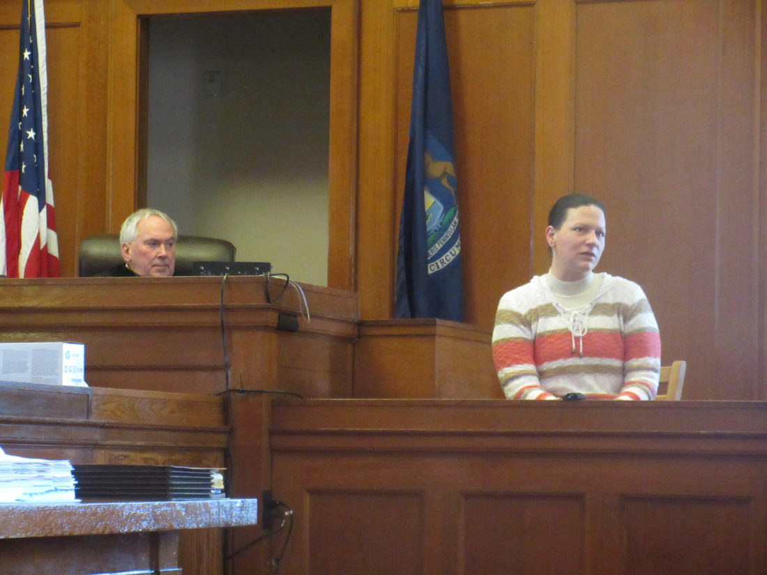 Nikki Younk/Daily News Photo  Kelly Cochran, right, testifies in her Iron County murder trial as Judge Richard J. Celello, left, looks on. Cochran denied knowing her husband planned to kill Christopher Regan of Iron River on Oct. 14, 2014, and said she delayed telling police her story because she was afraid of her husband.