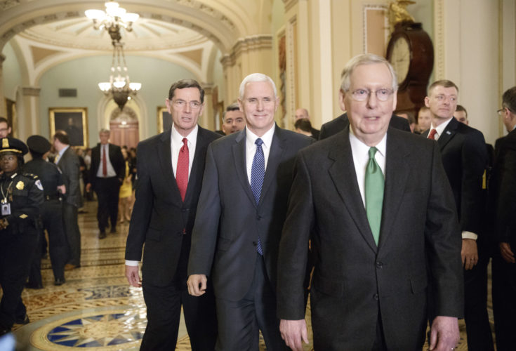 VICE PRESIDENT MIKE PENCE, center, joins Senate Majority Leader Mitch McConnell, R-Ky., right, and Sen. John Barrasso, R-Wyo., left, to speak with reporters Tuesday about the Republican plan to replace Obamacare. (AP Photo/J. Scott Applewhite)