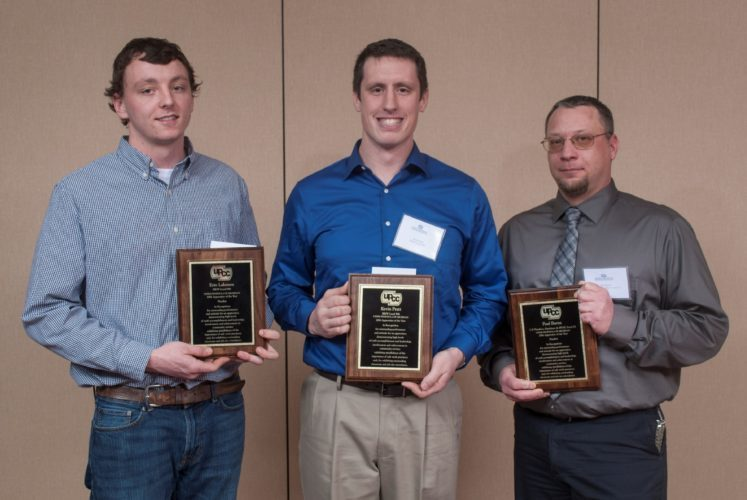 AWARDS WERE PRESENTED during the annual recognition banquet to, from left, Sam Lakenen, standing in for his sister Erin Lakenen, a finalist; Kevin Pratt, Apprentice of the Year; and Paul Barna, finalist.