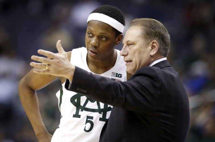 Coach Tom Izzo has led Michigan State to the NCAA Tournament as usual, extending his streak to 20 years. For a change, the Hall of Fame coach will have to rely on freshmen to avoid losing a first-round exit in consecutive years for the first time. (AP Photo/Alex Brandon, File)