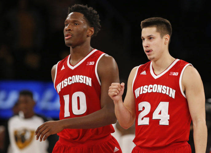 Wisconsin's Nigel Hayes (10) and Bronson Koenig (24) are getting one last shot to make an NCAA Tournament run. They have had accomplished careers, having played key roles on two Final Four teams. (AP Photo/Kathy Willens, File)