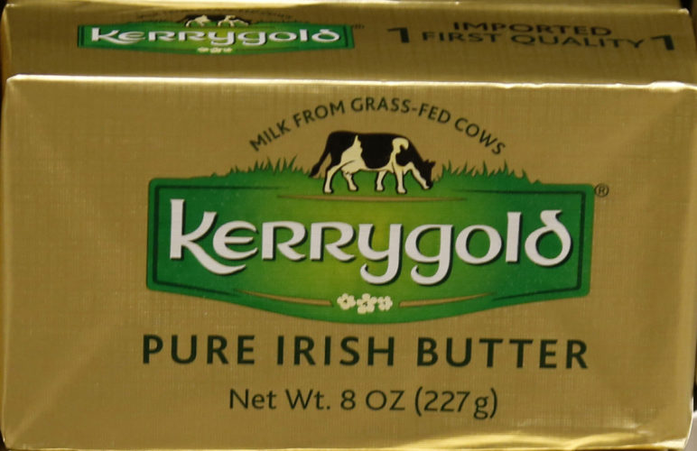 Kerrygold Pure Irish Butter sits on a store shelf Friday, March 17, 2017 in Edina, Minn.  Wisconsin consumers tired of trekking across state lines to buy a popular Irish butter are taking their fight to court. A 1953 state law bans the sale of Kerrygold butter in Wisconsin, along with any other butter that hasn't been locally graded for quality. A handful of butter aficionados filed the lawsuit, saying it's unconstitutional to require butter sold in the state to undergo a government-mandated taste test.  (AP Photo/Jim Mone)