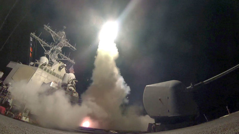 U.S. Navy via AP Photo The guided-missile destroyer USS Porter (DDG 78) launches a tomahawk land attack missile in the Mediterranean Sea, Friday. The United States blasted a Syrian air base with a barrage of cruise missiles in fiery retaliation for this week's gruesome chemical weapons attack against civilians.