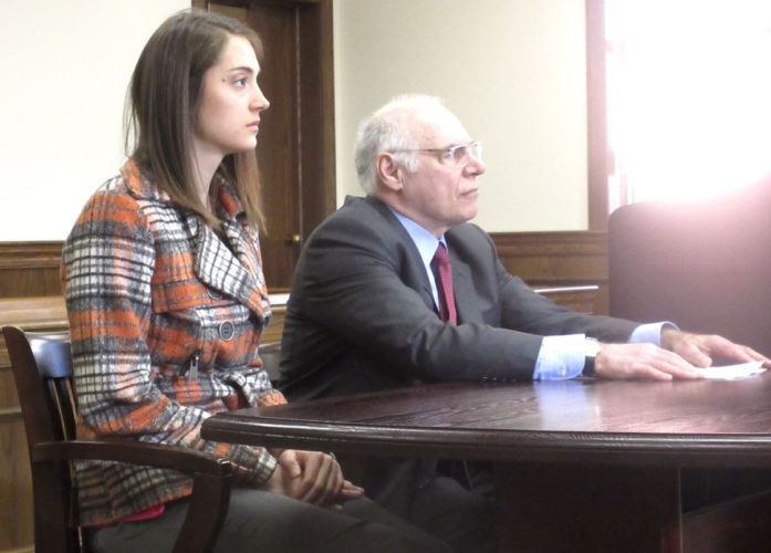 Nikki Younk/Daily News Photo Nicole Vanderlin, left, appears in Dickinson County District Court with defense attorney Vincent Petrucelli to enter pleas to misdemeanor charges stemming from a June 6 fatal traffic accident in Breitung Township.