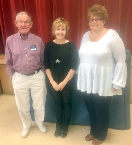 Vance Uhazie, Golden K program chairman, introduces guests Cherie Fila and Tracy Johnson. Both ladies work with the Great Lakes Recovery Center. Johnson is a prevention specialist. This is a relative new project in Dickinson County.