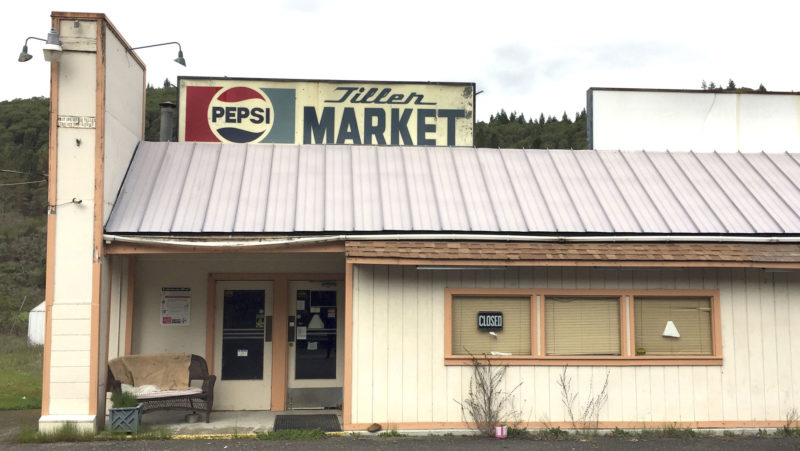 THE TILLER MARKET stands abandoned in downtown Tiller, Ore. (AP Photo/Gillian Flaccus)