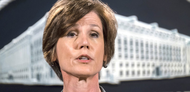 FORMER DEPUTY ATTORNEY General Sally Yates, shown here in 2016, will testify May 8 at a Senate Judiciary subcommittee open hearing, the first opportunity for the public to hear Yates' account of her role in the firing of Trump's first national security adviser, Michael Flynn. Yates herself was fired in the early days of the Trump administration. (AP Photo/J. David Ake, File)