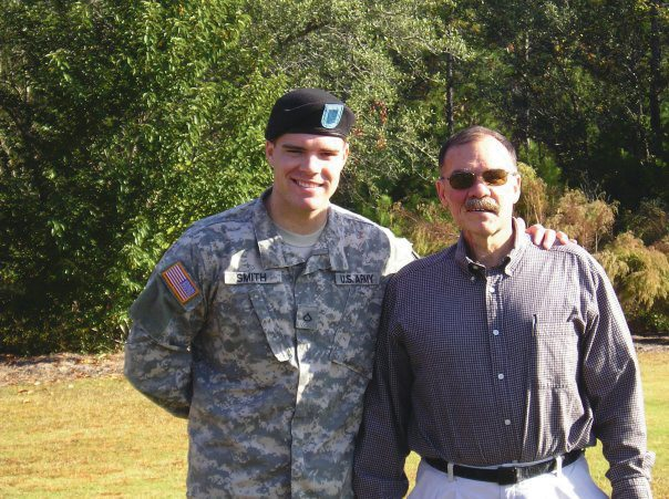 Submitted photo Local veteran Aaron Smith and his father pose for a photo after Aaron's graduation from explosive ordinance school.