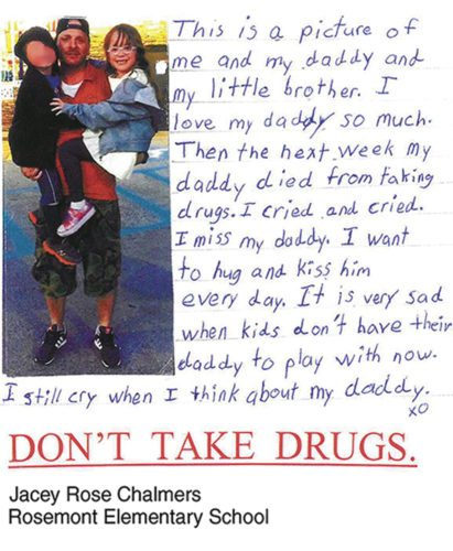 Submitted photo Jacey Rose Chalmers, a third-grader at Rosemont Elementary School, has had her poster chosen by West Virginia Attorney General Patrick Morrisey as the statewide winner in a campaign designed to raise awareness of prescription painkiller abuse.