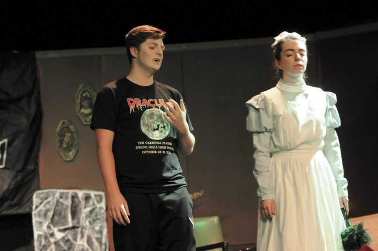 Journal photo by Ron Agnir Count Dracula, portrayed by Trey Hull, hypnotizes Maid Wells, portrayed by Kat Tidwell, in the Spring Mills Cardinals Players' production of Dracula. The production will be performed Friday and Saturday at 2 p.m.; and Sunday and Monday at 6:30 p.m.