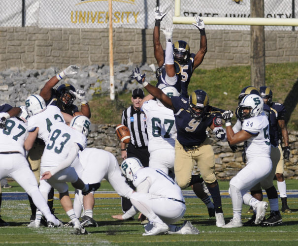 Shepherd's Shaneil Jenkins (9) blocks a kick during the Rams' game against Slippery Rock in first round of the NCAA Division II playoffs in 2015. Jenkins was signed by the Seattle Seahawks on Tuesday.