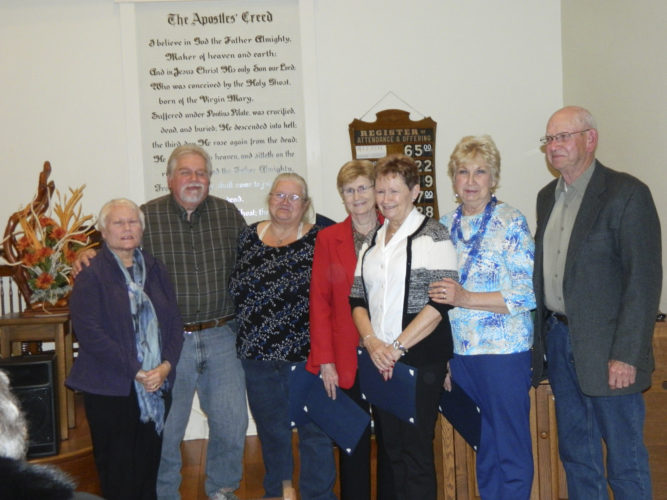 These community-service volunteers were recognized at the annual Hedgesville Community Ecumenical Service, from left, are Marilee H. Ostman, Steve Braithwaite, Brenda Braithwaite, Katherine (Kate) Lewis Brown, Maureen Sabol, Irene Stilwell, and Frank Stilwell. (submitted photo)