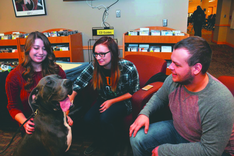 Submitted photo Nako, a Great Dane with PurposeFULL Paws visits with students Michaela Sencindiver, a history major from Inwood; Michalla Benton, a communications major from Dawsonville, Georgia; and Austin McClain, a physical therapy major from Huntington.