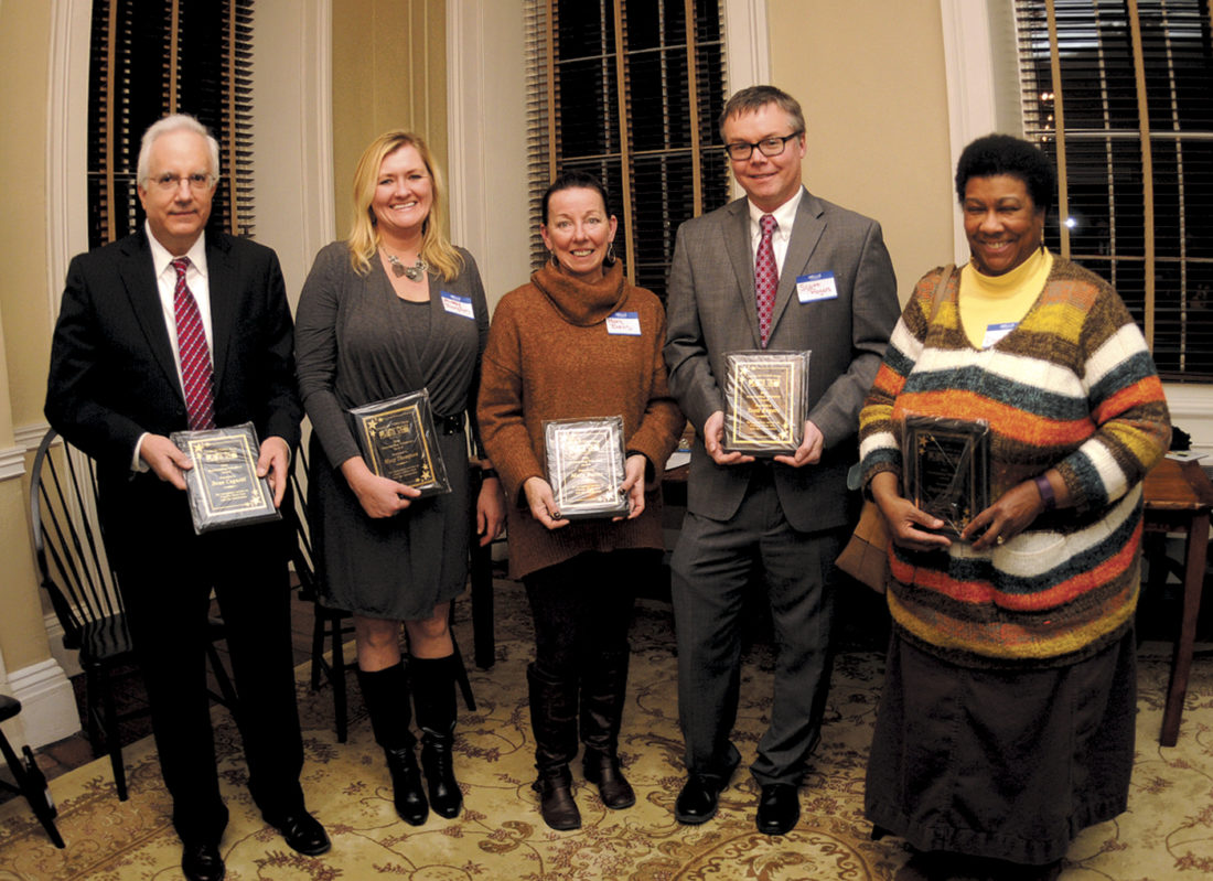 (Journal photo by Ron Agnir) Charles Town Now 2016 Outstanding Volunteer of the Year award recipients are shown, from left, Dean Cognetti, Missy Thompson, Mary Burns, Scott Rogers and Daphne Wahl, at a ceremony during the Jefferson County Chamber of Commerce Mixer on Tuesday evening at the Tate House in Charles Town. Recipients not present were Jean Petti, Bonnie Kratovil, Lori Slattery and Todd Wilt.