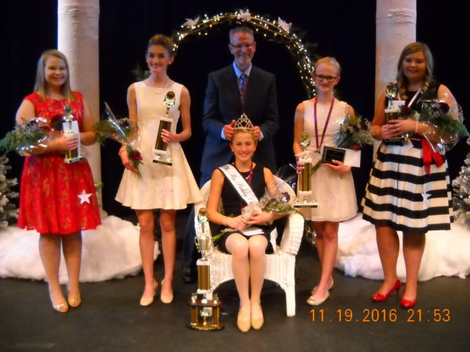 (Submitted photo) Miss finalists from left are: Lauren Sandy (4th), Madeline Brown (2nd), Aleynah Miller (Queen), Mallorie Rudy (1st), Morgan Sandy (3rd).  Crowning the winner is Dr. Bill Queen, Berkeley County Board of Education.