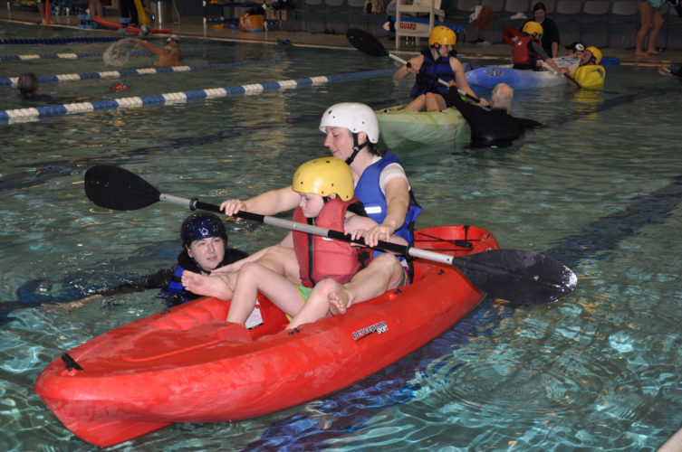 Submitted photo A special group of kayakers delightedly splashed around in the Wellness Center pool during a recent session of Shepherd University's Team River Runner chapter (TRR).