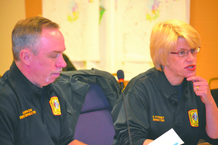 Journal Photo by Mary Stortstrom Denise Pouget, director of the Jefferson County Emergency Services Agency and deputy director Ed Hannon present their budget request to the Jefferson County Commission. The agency is requesting funding for 13 new positions in fiscal year 2018.