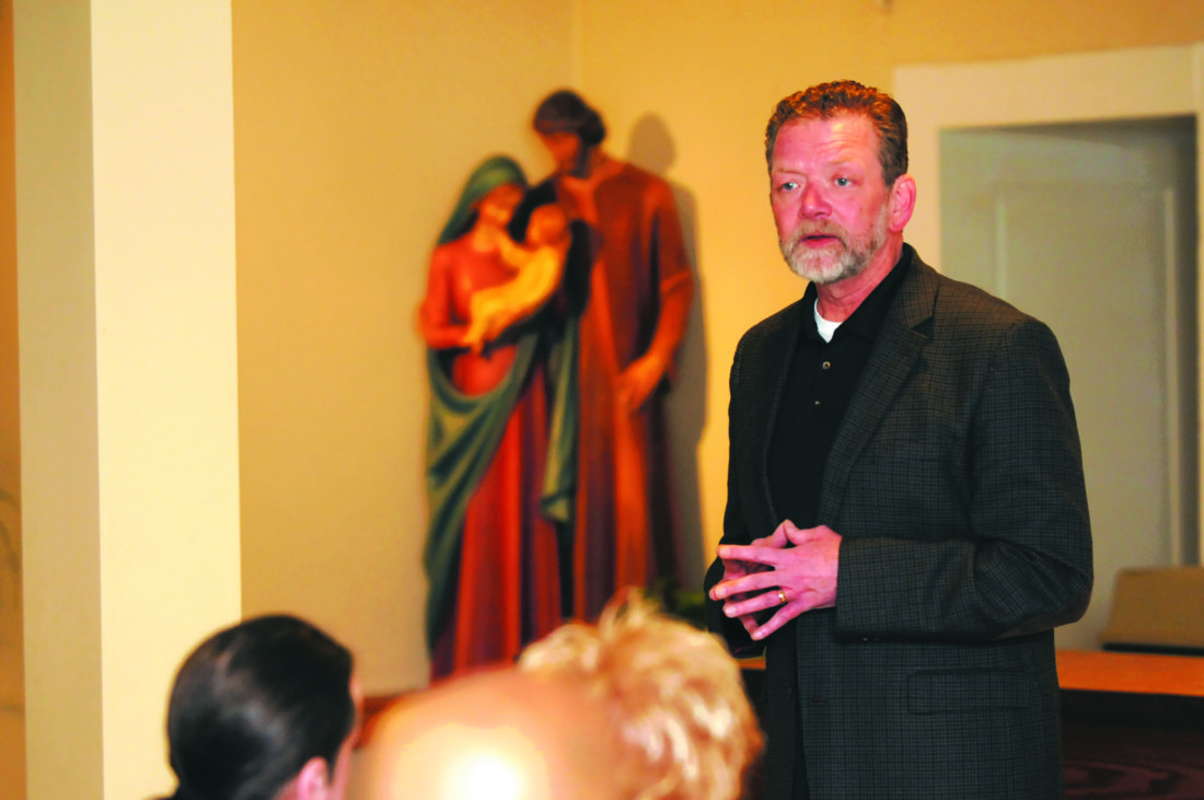 Journal photo by Ron Agnir Speaker and motivational Pastor Brad Hill shares his experience fighting addictions during the Martinsburg Renew gathering Thursday evening at St. Joseph Roman Catholic Church.