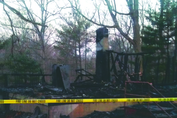 Submitted photo A man is left injured after a house was destroyed in a fire on Mellon East Road in Hedgesville on Monday morning.