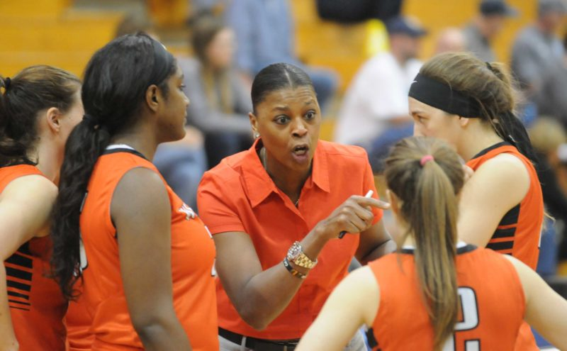 First-year West Virginia Wesleyan coach Vicky Bullett, a Martinsburg native, returned to the Eastern Panhandle as the Bobcats took on Shepherd on Thursday. (Journal photo by Ron Agnir)