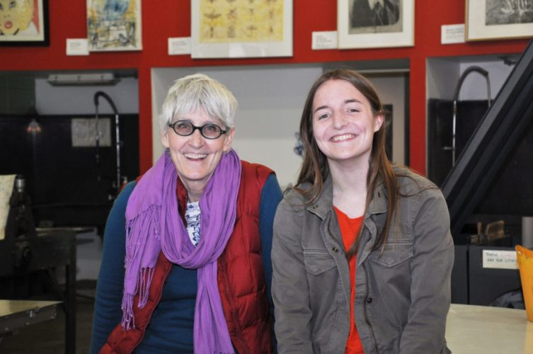 Shown from left are Rhonda Smith, chair of the Department of Contemporary Art and Theater, and Acadia Kandora, a senior art major from Charles Town. (Submitted photo)
