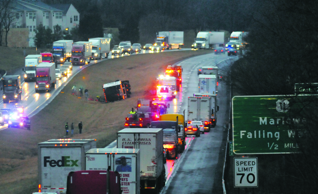 Hilltop Trailer Sales >> Roll-Over: Overturned tractor-trailer causes 4-vehicle ...