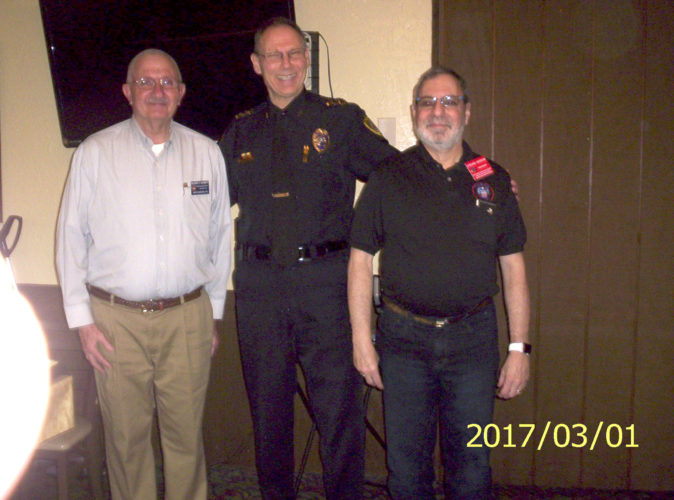 Pictured, from left, are Delmar Barrett, program chairman, Chief Richards, and Steve Sosson, president of the NARFE chapter. (Submitted photo)