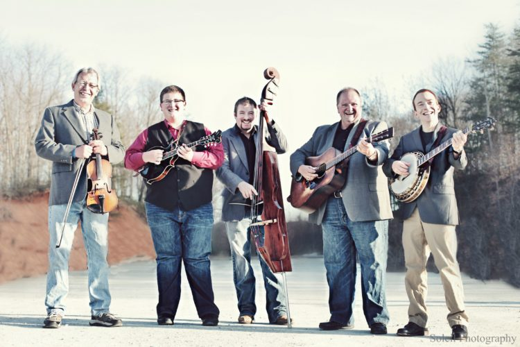 Danny Paisley, fourth from left, and members of Southern Grass: TJ Lundy (fiddle), Ryan Paisley (mandolin), Eric Troutman (bass),and Mark Delaney (banjo). (Submitted photo)