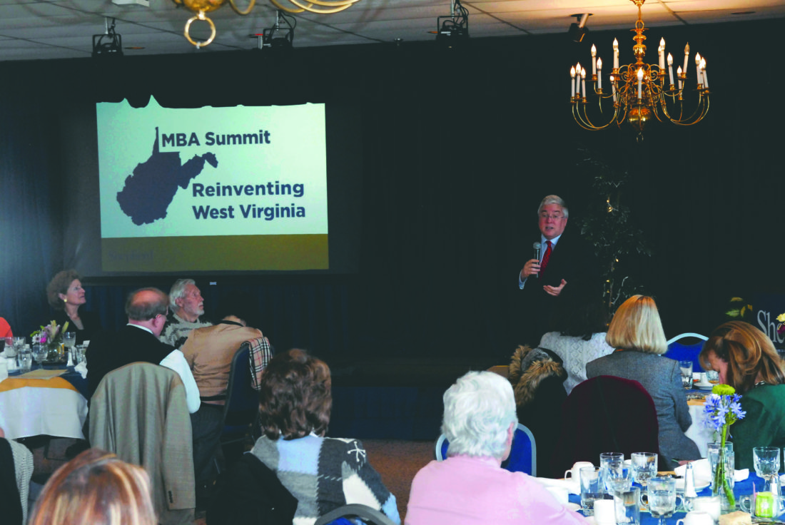 (Journal photo by Jeff McCoy) West Virginia Attorney General Patrick Morrisey was the keynote speaker Saturday at the Economic Summit at Shepherd University.