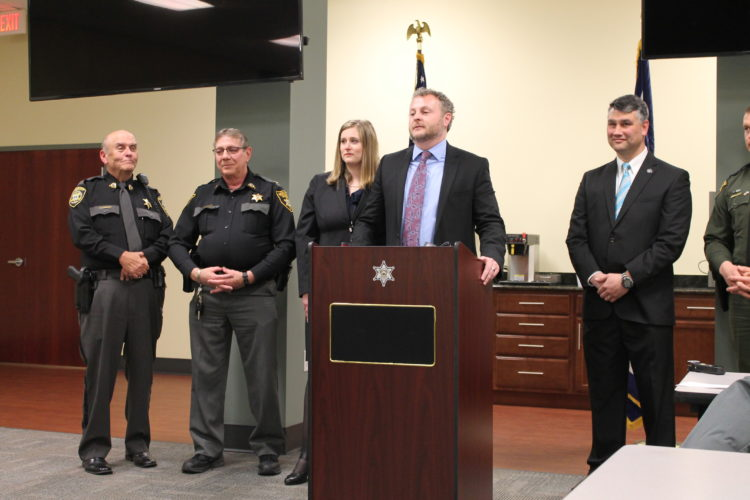 (Journal photo by Danyel VanReenen) Representatives of the Eastern Panhandle Drug & Violent Crime Task Force gathered at the Berkeley County Sheriff's Office to announce a major drug bust in the Eastern Panhandle on Friday.