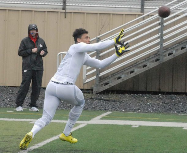 WR Billy Brown catches passess for NFL scouts Tuesday morning at the Shepherd Pro Day in Shepherdstown. (Journal photo by Rick Kozlowski)