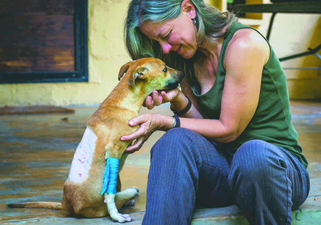 Submitted photos Dr. Amanda Stronza shares a moment with Poppy at a vet clinic in Botswana.